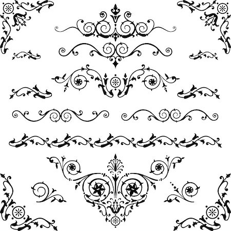 elakwasniewski (artist) - Vector set of floral decorative elements and flourishes, elements are individually grouped for easy editing and color change. Stock Photo - Budget Royalty-Free & Subscription, Code: 400-04885743