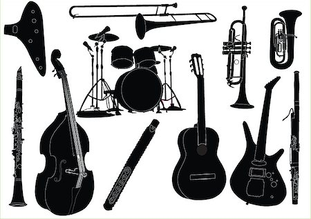 silhouette musical symbols - musical instruments collection - vector Stock Photo - Budget Royalty-Free & Subscription, Code: 400-04886026
