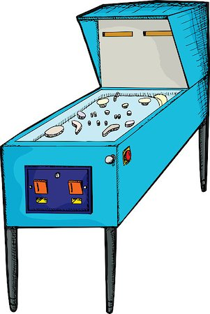 pinball - Illustration of a generic design pinball machine with blank skin Stock Photo - Budget Royalty-Free & Subscription, Code: 400-04886124
