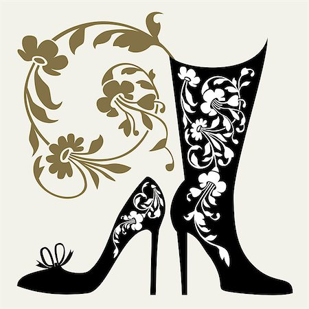 elakwasniewski (artist) - Black silhouettes of women shoes collection and ornaments Stock Photo - Budget Royalty-Free & Subscription, Code: 400-04886202