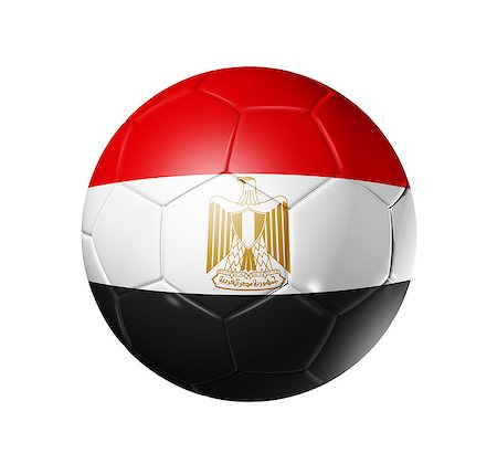 3D soccer ball with Egypt team flag. isolated on white with clipping path Stock Photo - Budget Royalty-Free & Subscription, Code: 400-04886295
