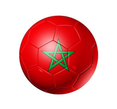 3D soccer ball with Morocco team flag. isolated on white with clipping path Stock Photo - Budget Royalty-Free & Subscription, Code: 400-04886298