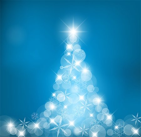 Abstract Christmas tree made of light and snow flakes Stock Photo - Budget Royalty-Free & Subscription, Code: 400-04886603