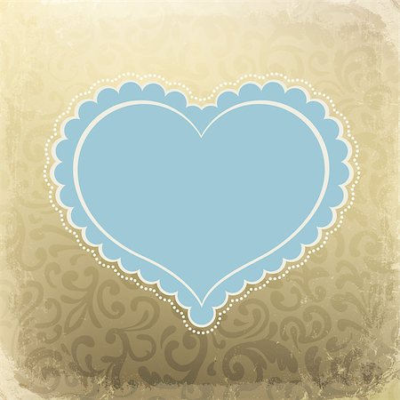 Vintage card with heart shaped space for text Stock Photo - Budget Royalty-Free & Subscription, Code: 400-04887019