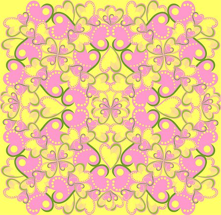 simsearch:400-04597082,k - vector seamless pattern with pink and yellow hearts Stock Photo - Budget Royalty-Free & Subscription, Code: 400-04887119