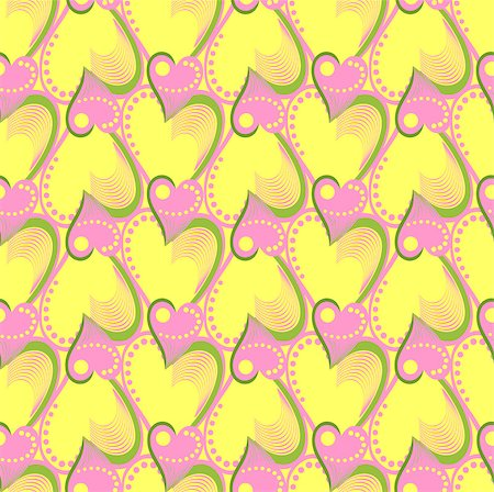 simsearch:400-04597082,k - vector seamless pattern with pink and yellow hearts Stock Photo - Budget Royalty-Free & Subscription, Code: 400-04887129