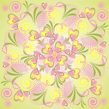 simsearch:400-04765926,k - Seamless retro background with flower heart. Vector abstract background with nature theme. Stock Photo - Budget Royalty-Free & Subscription, Code: 400-04887120