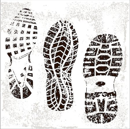 A high detailed set of three grunge shoe tracks Stock Photo - Budget Royalty-Free & Subscription, Code: 400-04887518