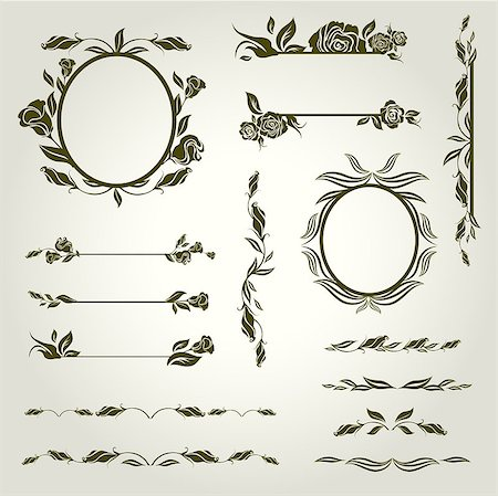 "Vector set of vintage design elements with flowers (from my big ""Floral collection"") Stock Photo - Budget Royalty-Free & Subscription, Code: 400-04889545"