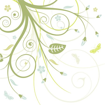 filigree designs in trees and insects - Flower frame with butterfly, element for design, vector illustration Stock Photo - Budget Royalty-Free & Subscription, Code: 400-04880537