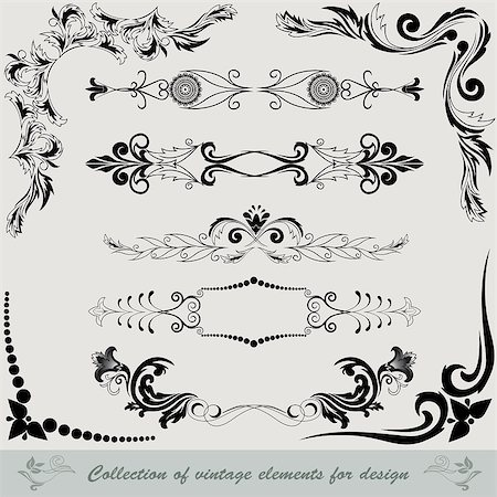 collection of vintage elements for design Stock Photo - Budget Royalty-Free & Subscription, Code: 400-04882726