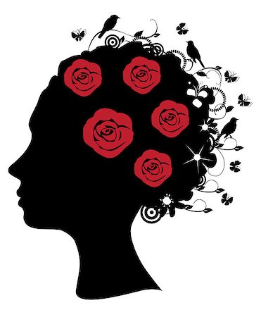 female lips drawing - Vector illustration of a female head silhouette with roses and birds Stock Photo - Budget Royalty-Free & Subscription, Code: 400-04882925