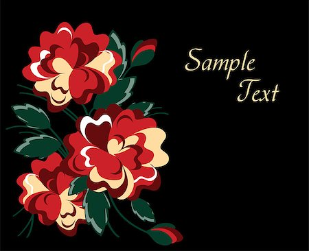 elegant red roses on black background. vector Stock Photo - Budget Royalty-Free & Subscription, Code: 400-04882952