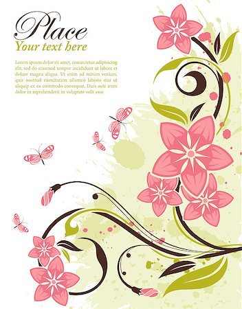 Grunge decorative floral frame with butterfly, element for design, vector illustration Stock Photo - Budget Royalty-Free & Subscription, Code: 400-04883822
