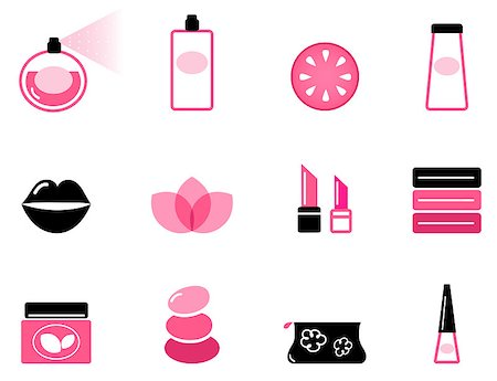 Vector set or collection of beauty icons isolated on white. Stock Photo - Budget Royalty-Free & Subscription, Code: 400-04895455