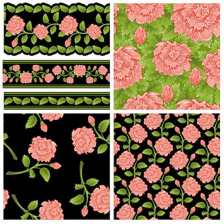 pattern paeonia - Set of seamless and borders from pink peony (can be repeated and scaled in any size) Stock Photo - Budget Royalty-Free & Subscription, Code: 400-04895828