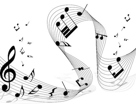 Vector musical notes staff background for design use Stock Photo - Budget Royalty-Free & Subscription, Code: 400-04896323