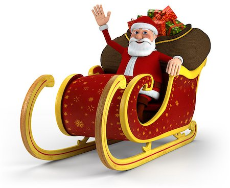 Cartoon Santa Claus sitting in his sleigh and waving - on white background - high quality 3d illustration Stock Photo - Budget Royalty-Free & Subscription, Code: 400-04896940