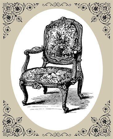elakwasniewski (artist) - Vector illustration of antique baroque armchair, damask chair with oval frame Stock Photo - Budget Royalty-Free & Subscription, Code: 400-04897216