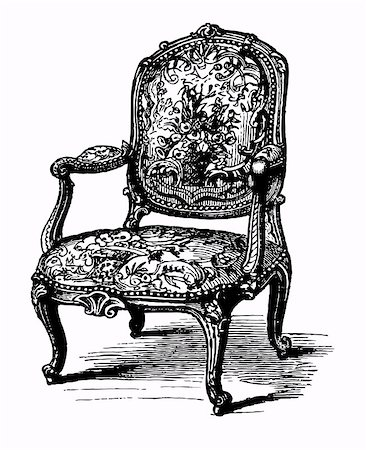 elakwasniewski (artist) - Vector illustration of antique baroque armchair, damask chair Stock Photo - Budget Royalty-Free & Subscription, Code: 400-04897236