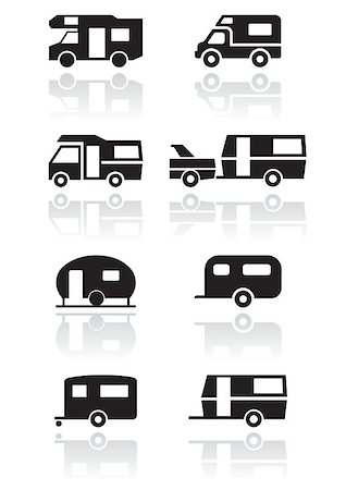 Caravan or camper van symbol vector illustration set. All vector objects are isolated and grouped. Colors and transparent background color are easy to adjust. Stock Photo - Budget Royalty-Free & Subscription, Code: 400-04897609