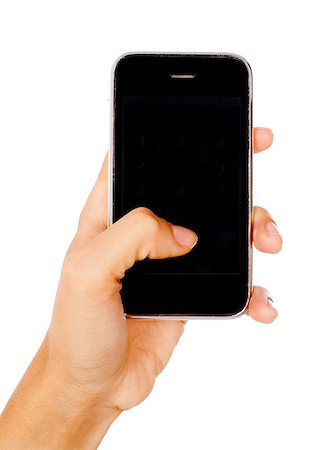 Woman hand holding mobile phone isolated on white background. Stock Photo - Budget Royalty-Free & Subscription, Code: 400-04897736