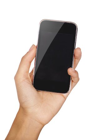 Mobile phone in the hand with copyspace isolated on white Stock Photo - Budget Royalty-Free & Subscription, Code: 400-04897738