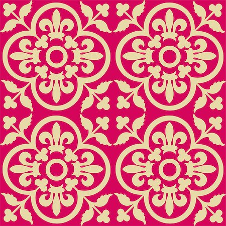 Red royal pattern. Seamless wallpaper. Retro background Stock Photo - Budget Royalty-Free & Subscription, Code: 400-04898579