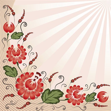 plant leaf paintings graphic - Red flowers on a beige background - in the style of hand-painted. Floral design. Basic elements are grouped. Stock Photo - Budget Royalty-Free & Subscription, Code: 400-04898641