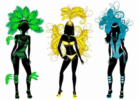 Vector Illustration for Carnival 3 Silhouettes with different costumes. Stock Photo - Budget Royalty-Free & Subscription, Code: 400-04898889