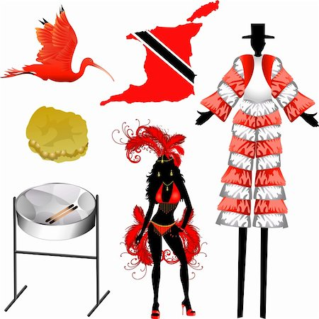 Vector Illustration of 6 different Trinidad and Tobago icons. Stock Photo - Budget Royalty-Free & Subscription, Code: 400-04898890