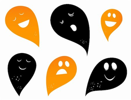 Happy Ghost & Creatures silhouettes collection. Vector Stock Photo - Budget Royalty-Free & Subscription, Code: 400-04899003
