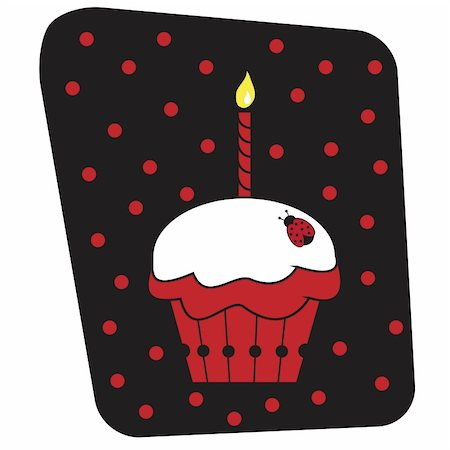 Cute red and black ladybug cupcake with candle Stock Photo - Budget Royalty-Free & Subscription, Code: 400-04899191