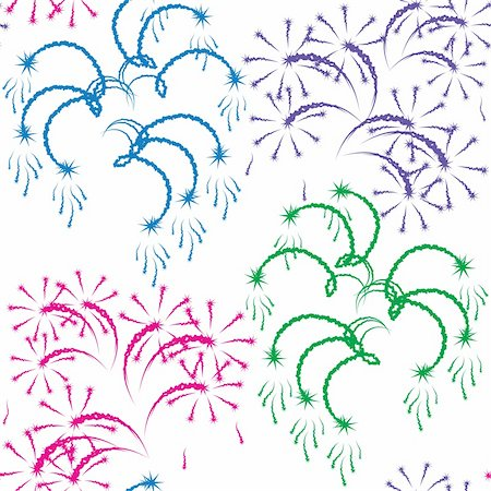 Vector illustration. Seamless pattern - fireworks on a white background. Stock Photo - Budget Royalty-Free & Subscription, Code: 400-04899311