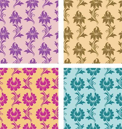 4 types of seamless pattern - flowers on a background. Each seamless pattern is grouped on a separate layer. Stock Photo - Budget Royalty-Free & Subscription, Code: 400-04899329