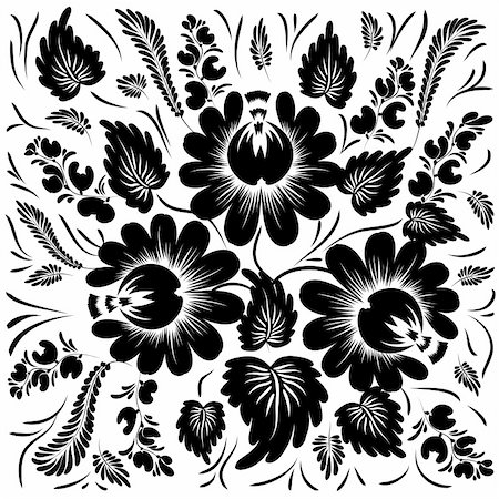 plant leaf paintings graphic - Black flowers on a white background - in the style of hand-painted. All items are grouped. Stock Photo - Budget Royalty-Free & Subscription, Code: 400-04899323