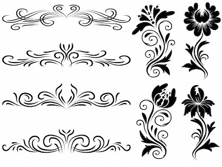 plant leaf paintings graphic - Horizontal elements decoration vector, floral graphic design elements vector. Basic elements are grouped. Stock Photo - Budget Royalty-Free & Subscription, Code: 400-04899370