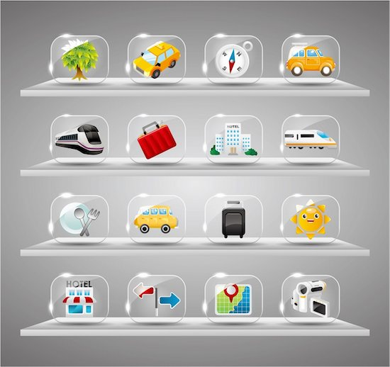 Cute travel icons collection,Transparent glass button Stock Photo - Royalty-Free, Artist: notkoo2008, Image code: 400-04899973
