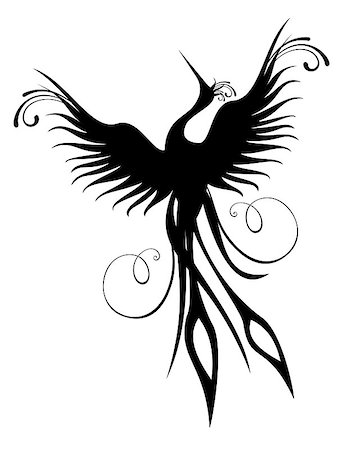 frbird - Black phoenix bird figure isolated over white. Re-birth concept. Stock Photo - Budget Royalty-Free & Subscription, Code: 400-04890221