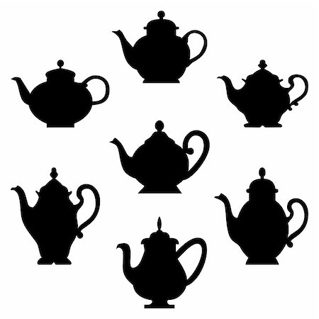 elakwasniewski (artist) - Black silhouettes of antique teapots or coffee pots. Design for your menu restaurant card Stock Photo - Budget Royalty-Free & Subscription, Code: 400-04890640