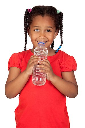 African little girl with water bottle isolated on a over white Stock Photo - Budget Royalty-Free & Subscription, Code: 400-04891353