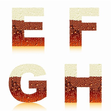 alphabet dark beer EFGH, this illustration may be useful as designer work Stock Photo - Budget Royalty-Free & Subscription, Code: 400-04905618