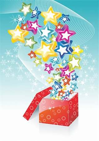 Star shining fancy gift. Opening magic box. Vector card template. Stock Photo - Budget Royalty-Free & Subscription, Code: 400-04905882