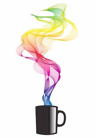 rainbow smoke background - coffee mug with colorful smoke, vector illustration Stock Photo - Budget Royalty-Free & Subscription, Code: 400-04906107