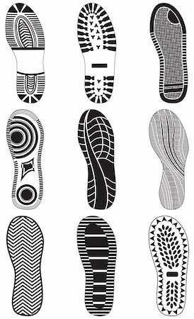 Vector illustration set of footprints. All vector objects are isolated and grouped. Colors and transparent background color are easy to customize. Stock Photo - Budget Royalty-Free & Subscription, Code: 400-04906171