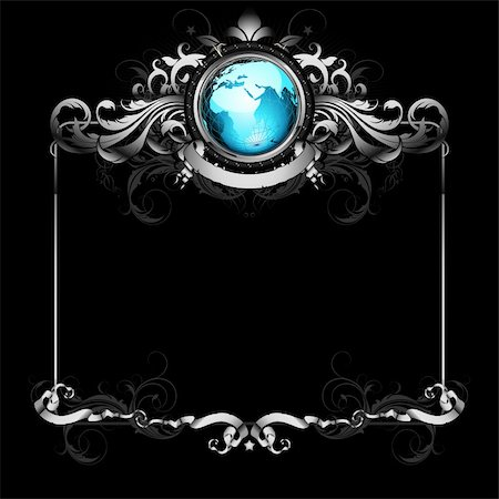 world with ornate frame,  this illustration may be useful as designer work Stock Photo - Budget Royalty-Free & Subscription, Code: 400-04906248