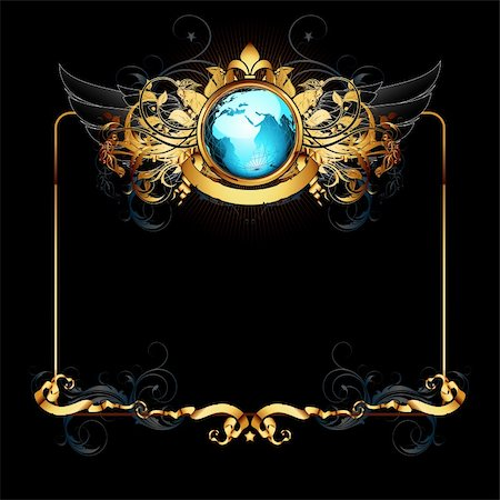 world with ornate frame, this illustration may be useful as designer work Stock Photo - Budget Royalty-Free & Subscription, Code: 400-04906249