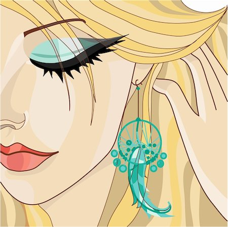 Girl with Earring. Vector illustration Stock Photo - Budget Royalty-Free & Subscription, Code: 400-04906315