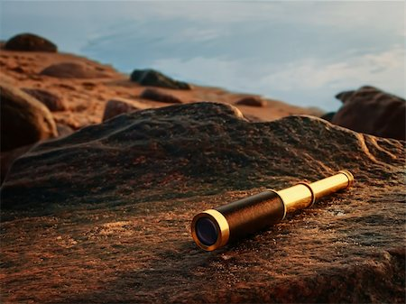 scope - antique brass telescope at sea coast stone Stock Photo - Budget Royalty-Free & Subscription, Code: 400-04906823