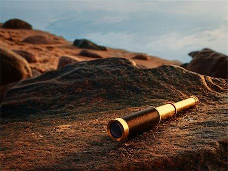 scope - antique brass telescope at sea coast stone Stock Photo - Budget Royalty-Free & Subscription, Code: 400-04906823